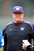 Washington Huskies Head Coach Lindsay Meggs #4 during a baseball game against the UCLA Bruins at Jackie Robinson Stadium on March 17, 2013 in Los Angeles, California. (Larry Goren/Four Seam Images)