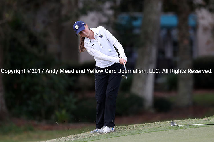 WILMINGTON, NC - OCTOBER 28: Notre Dame's Abby Heck on the 10th green. The second round of the Landfall Tradition Women's Golf Tournament was held on October 28, 2017 at the Pete Dye Course at the Country Club of Landfall in Wilmington, NC.