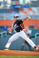 Aberdeen IronBirds starting pitcher Gray Fenter (38) delivers a pitch during a game against the Staten Island Yankees on August 23, 2018 at Leidos Field at Ripken Stadium in Aberdeen, Maryland.  Aberdeen defeated Staten Island 6-2.  (Mike Janes/Four Seam Images)