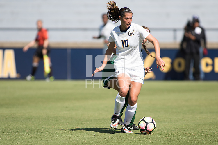 BERKELEY, CA - Sept 16th, 2016: Arielle Ship (10) dribbles the ball. Cal Women's Soccer played the University of San Francisco on Goldman Field at Edwards Stadium.