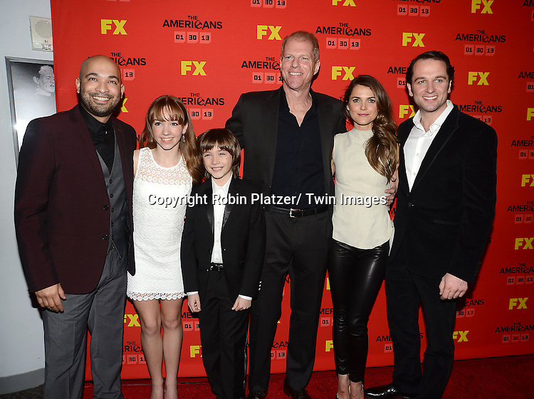 "Maximiliano Hernandez, Holly Taylor, Keidrick Sellati, Noah Emmerich, Keri Russell and Matthew Rhys attend the premiere screening in New York City of ""The Americans"" on January 26, 2013 at The DGA Theatre. The tv series will be on FX starting on January 30, 2013 and stars Keri Russell, Matthew Rhys, Noah Emmerich, Holly Taylor and Keidrick Sellati."