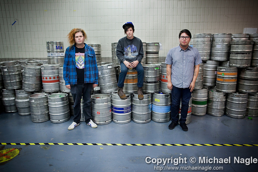 NEW YORK --  OCTOBER 20, 2010:  Stephen Pope (L), Nathan Williams (C), and Jacob Cooper of the Wavves pose backstage at Madison Square Garden before their performance on October 20, 2010 in New York City.   (Photo by Michael Nagle)