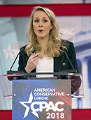 Marion Maréchal-Le Pen, granddaughter of National Front founder Jean-Marie Le Pen, and niece of FN leader Marine Le Pen, speaks at the Conservative Political Action Conference (CPAC) at the Gaylord National Resort and Convention Center in National Harbor, Maryland on Thursday, February 22, 2018.<br /> Credit: Ron Sachs / CNP