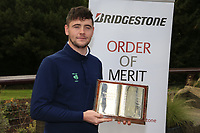 Rob Brazil (Naas) winner of the Bridgestone Order of Merit at the presentations in the GUI National Academy, Maynooth, Kildare, Ireland. 30/11/2019.<br /> Picture Fran Caffrey / Golffile.ie<br /> <br /> All photo usage must carry mandatory copyright credit (© Golffile | Fran Caffrey)