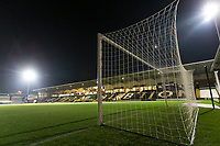 3rd December 2019; Pirelli Stadium, Burton Upon Trent, Staffordshire, England; English League One Football, Burton Albion versus Southend United; A goal and nets with the pitch and stands before the match - Strictly Editorial Use Only. No use with unauthorized audio, video, data, fixture lists, club/league logos or 'live' services. Online in-match use limited to 120 images, no video emulation. No use in betting, games or single club/league/player publications