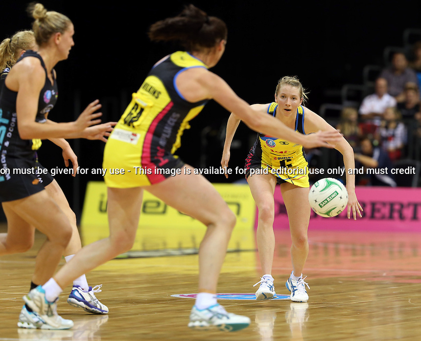 13.05.2013 Pulse's Camilla Lees in action during the ANZ Champs netball match between the Magic and Pulse played at Claudelands Arena in Hamilton. Mandatory Photo Credit ©Michael Bradley.