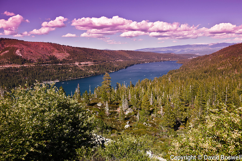 Donner Lake in the Northern Sierra Nevada mountains, seen from Donner Pass.