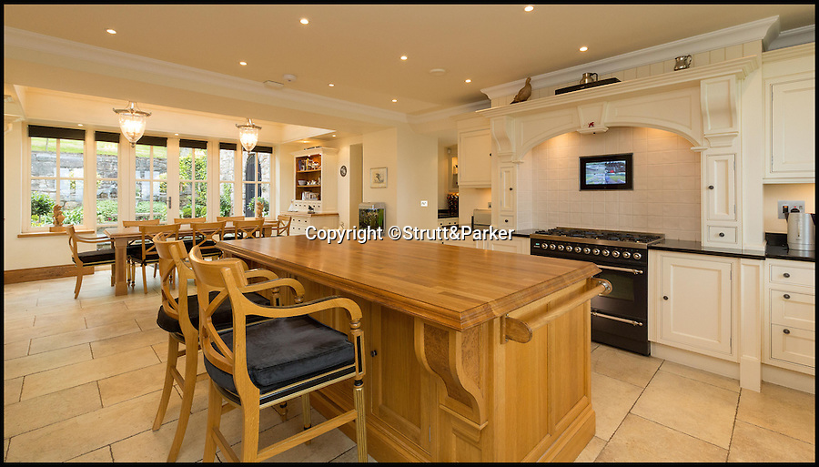 BNPS.co.uk (01202 558833)<br /> Pic: Strutt&Parker/BNPS<br /> <br /> All mod cons inside the thick walls.<br /> <br /> Every man's home is his castle - but one lucky buyer could get their hands on this modern fortress complete with tower and fire-breathing dragon for a whopping £4 million.<br /> <br /> From the outside Castell Gyrn, which sits in the rolling countryside in Denbighshire, North Wales, looks the part of a 200-year-old citadel, but it is actually one of the country's youngest castles at just 39 years old.<br /> <br /> Unlike its ancient counterparts, the contemporary stronghold comes complete with draught exclusion, underfloor heating and double glazing.<br /> <br /> It also has the modern comforts of a cinema room, a library and a butler's pantry, as well as permission to add an extension for leisure facilities including an infinity swimming pool.