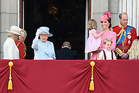 HM Queen Elizabeth II; Catherine, Duchess of Cambridge; Princess Charlotte; Prince George &amp; Prince William, Duke of Cambridge on the balcony of Buckingham Palace following the Trooping of the Colour Ceremony celebrating the Queen's official birthday. London, UK. <br /> 17 June  2017<br /> Picture: Steve Vas/Featureflash/SilverHub 0208 004 5359 sales@silverhubmedia.com
