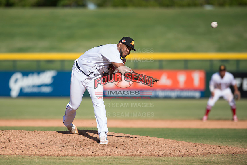 Mesa Solar Sox relief pitcher Sandy Baez (62), of the Detroit Tigers organization, delivers a pitch during an Arizona Fall League game against the Peoria Javelinas at Sloan Park on October 24, 2018 in Mesa, Arizona. Mesa defeated Peoria 4-3. (Zachary Lucy/Four Seam Images)