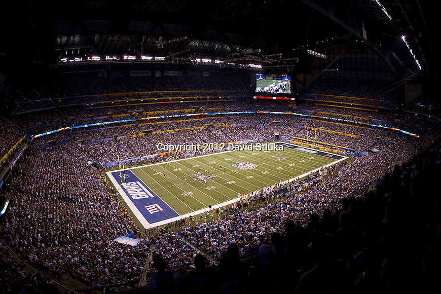 A general view of Lucas Oil Field of the New York Giants NFL Super Bowl XLVI football game against the New England Patriots on Sunday, Feb. 5, 2012, in Indianapolis. The Giants won 21-17 (AP Photo/David Stluka)...