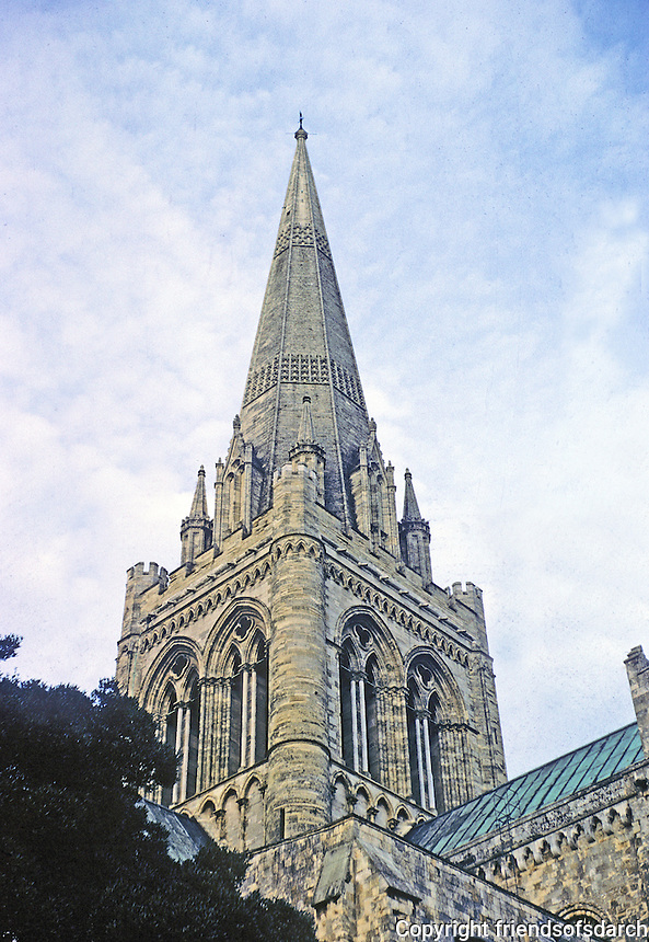 Chichester: Chichester Cathedral--spire.  Photo '04.