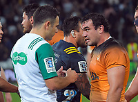 Agustin Creevy talks to referee Ben O'Keefe after the Super Rugby match between the Highlanders and Jaguares at Forsyth Barr Stadium in Dunedin, New Zealand on Saturday, 11 May 2019. Photo: Dave Lintott / lintottphoto.co.nz