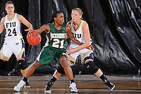11 November 2011:  FIU's Zsofia Labady (3) defends Jacksonville's Crystal Bell (21) in the second half as the FIU Golden Panthers defeated the Jacksonville University Dolphins, 63-37, at the U.S. Century Bank Arena in Miami, Florida.