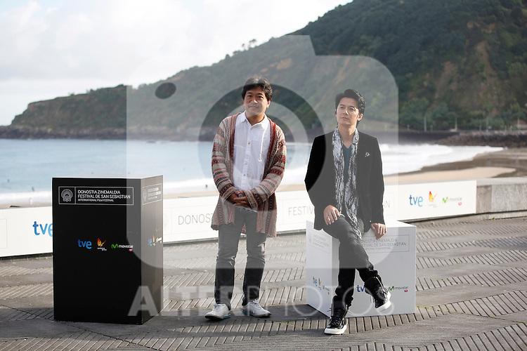 Director Hirokazu Kore-eda (L) and actor Masaharu Fukuyama (R) during the 61 San Sebastian Film Festival, in San Sebastian, Spain. September 20, 2013. (ALTERPHOTOS/Victor Blanco)