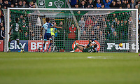 Jake Jervis of Plymouth Argyle scrambles in his side's second goal during the Sky Bet League 2 match between Plymouth Argyle and Wycombe Wanderers at Home Park, Plymouth, England on 26 December 2016. Photo by Mark  Hawkins / PRiME Media Images.