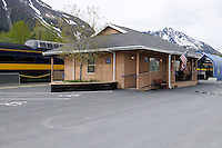 The Alaska Railroad's Coastal Classic awaits passengers at the Seward Depot.