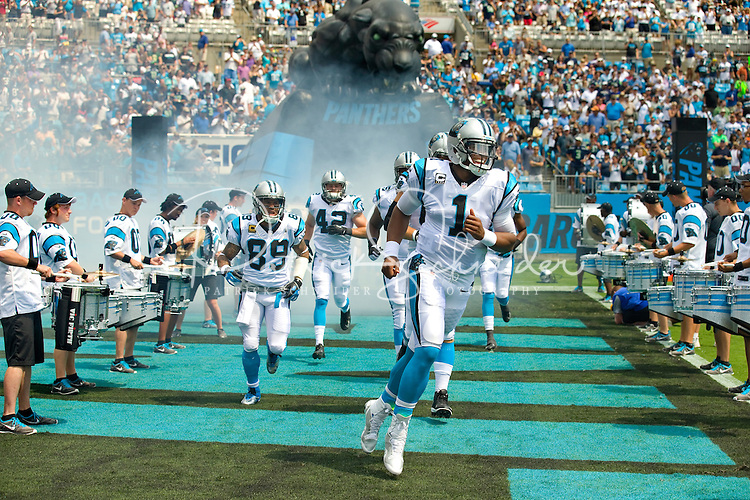 Sports action photography of the Carolina Panthers against the Seattle Seahawks during their NFL game at Bank of America Stadium on September 8, 2013 in Charlotte, North Carolina. The Seahawks defeated the Panthers 12-7. <br /> <br /> Charlotte Photographer - Patrick SchneiderPhoto.com