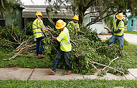 Crews restoring power during Hurricane Dorian in Melbourne, Fla. on September 4, 2019