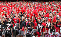 The Georgia Bulldogs played North Texas Mean Green at Sanford Stadium.  After North Texas tied the game at 21 early in the second half, the Georgia Bulldogs went on to score 24 unanswered points to win 45-21.  Georgia fans celebrate.