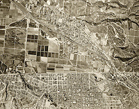 historical aerial photograph Mexican American border at Tijuana, Mexico and San Ysidro, California, 1966