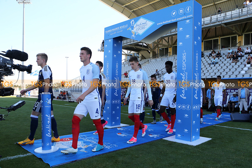 Josh Tymon proudly walks out onto the pitch to play for England during England Under-18 vs Scotland Under-20, Toulon Tournament Semi-Final Football at Stade Parsemain on 8th June 2017