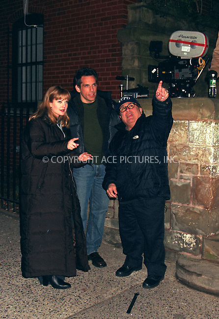 "Drew Barrymore, Ben Stiller, Danny DeVito on the set of ""Duplex"" in Brooklyn, New York. April 2002 . Ref: RBUS2044. Please byline: Richard Bocklet/NY Photo Press.   ..*PAY-PER-USE*      ....NY Photo Press:  ..phone (646) 267-6913;   ..e-mail: info@nyphotopress.com"