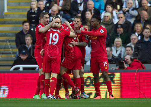 27.04.2013 Newcastle England.        Liverpool's Daniel Agger celebrates after scoring to make it 1-0    during the English Premier league game between Newcastle United and Liverpool,  From The Sports Direct Arena, St James Park, Stadium, Newcastle.
