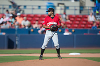 Vancouver Canadians starting pitcher Elio Silva (43) gets ready to deliver a pitch during a Northwest League game against the Spokane Indians at Avista Stadium on September 2, 2018 in Spokane, Washington. The Spokane Indians defeated the Vancouver Canadians by a score of 3-1. (Zachary Lucy/Four Seam Images)