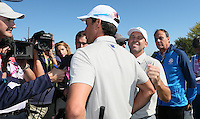 Sergio Garcia (Team Europe) and Rafa Cabrera Bello (Team Europe) secure a half on the final hole during the Saturday Morning Foursomes, at the 41st Ryder Cup 2016, at Hazeltine National Golf Club, Minnesota, USA.  01View of the 10th2016. Picture: David Lloyd | Golffile.