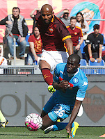 Calcio, Serie A: Roma vs Napoli. Roma, stadio Olimpico, 25 aprile 2016.<br /> Roma&rsquo;s Maicon, left, is challenged by Napoli&rsquo;s Kalidou Koulibaly during the Italian Serie A football match between Roma and Napoli at Rome's Olympic stadium, 25 April 2016.<br /> UPDATE IMAGES PRESS/Riccardo De Luca