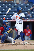 Justin Williams (4) of the Durham Bulls follows through on his swing against the Buffalo Bison at Durham Bulls Athletic Park on April 25, 2018 in Allentown, Pennsylvania.  The Bison defeated the Bulls 5-2.  (Brian Westerholt/Four Seam Images)
