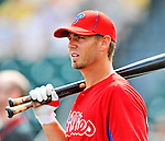 9 March 2012: Philadelphia Phillies infielder Kevin Frandsen awaits his turn in the batting cage prior to a Spring Training game against the Detroit Tigers at Joker Marchant Stadium in Lakeland, Florida. The Phillies defeated the Tigers 7-5 in Grapefruit League action. Mandatory Credit: Ed Wolfstein Photo