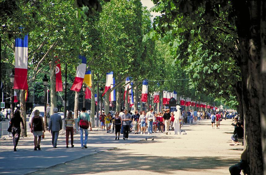 sidewalk along the Champs Elysees. street scene. Paris, France.
