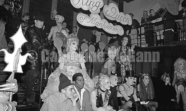 Winter 1994: Contestants  at the  Club Kid King and Queen of Manhattan contest at Limelight nightclub in New York City, WInter, 1994.  Front row, third from left:  Kenny Kenny, Billy Beyond and Joey Arias (top hat).