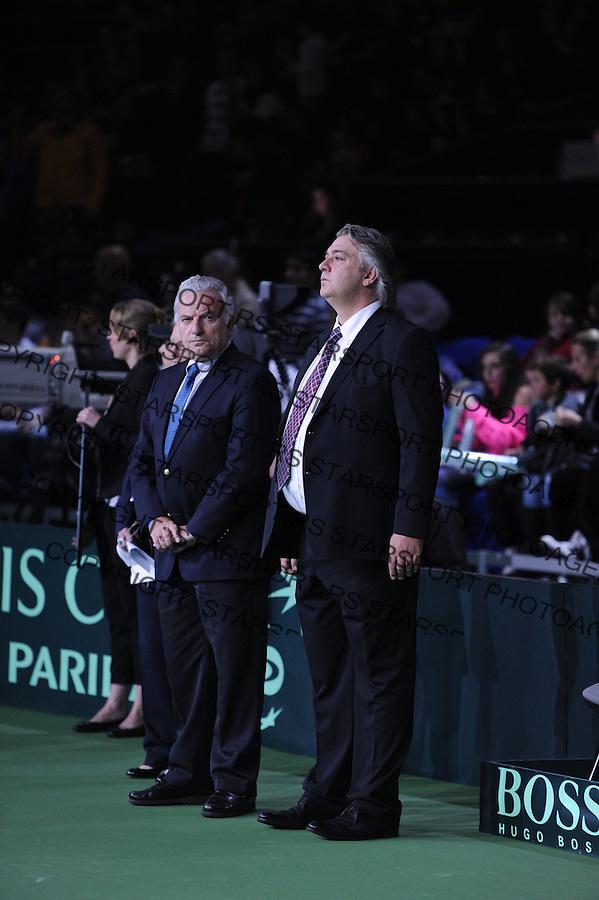 Tennis Tenis<br /> Davis Cup Final 2013<br /> Serbia v Czech Republic<br /> Nenad Zimonjic and Ilija Bozoljac v Radek Stepanek and Tomas Berdych<br /> ITF President Francesko Ricci Bitti (L) and Slobodan Zivojinovic<br /> Beograd, 16.11.2013.<br /> foto: Srdjan Stevanovic/Starsportphoto &copy;