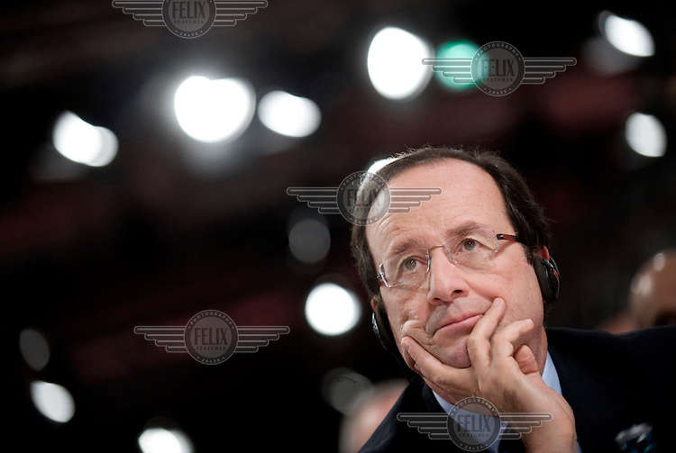 Francois Hollande, the French Socialist Party presidential candidate for the 2012 presidential election, at the German Social Democratic Party (SPD) party conference in Berlin. ..