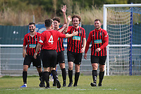Jack Leachman of Saffron Walden scores the second goal for his team and celebrates during Redbridge vs Saffron Walden Town, Essex Senior League Football at Oakside Stadium on 7th September 2019