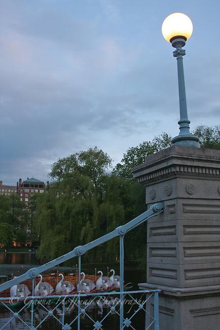Swan boats and bridge. Boston Public Garden, MA