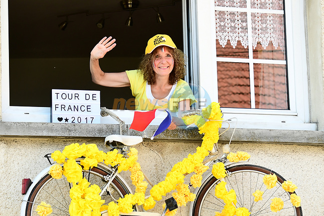 A fan waits for the race during Stage 6 of the 104th edition of the Tour de France 2017, running 216km from Vesoul to Troyes, France. 6th July 2017.<br /> Picture: ASO/Alex Broadway | Cyclefile<br /> <br /> <br /> All photos usage must carry mandatory copyright credit (&copy; Cyclefile | ASO/Alex Broadway)