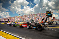 Sep 2, 2018; Clermont, IN, USA; NHRA top fuel driver Terry McMillen during qualifying for the US Nationals at Lucas Oil Raceway. Mandatory Credit: Mark J. Rebilas-USA TODAY Sports