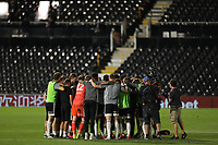 30th July 2020; Craven Cottage, London, England; English Championship Football Playoff Semi Final Second Leg, Fulham versus Cardiff City; The Fulham players huddle together as they make the playoff finals