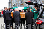 Weshie Fogarty coffin is covered in the green and white flag of Killarney Legion by James O'DonoghueinSt Marys Cathedral on Wednesday