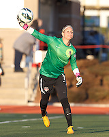 Washington Spirit goalkeeper Ashlyn Harris (1) passes the ball.  In a National Women's Soccer League Elite (NWSL) match, the Boston Breakers (blue) tied the Washington Spirit (white), 1-1, at Dilboy Stadium on April 14, 2012.