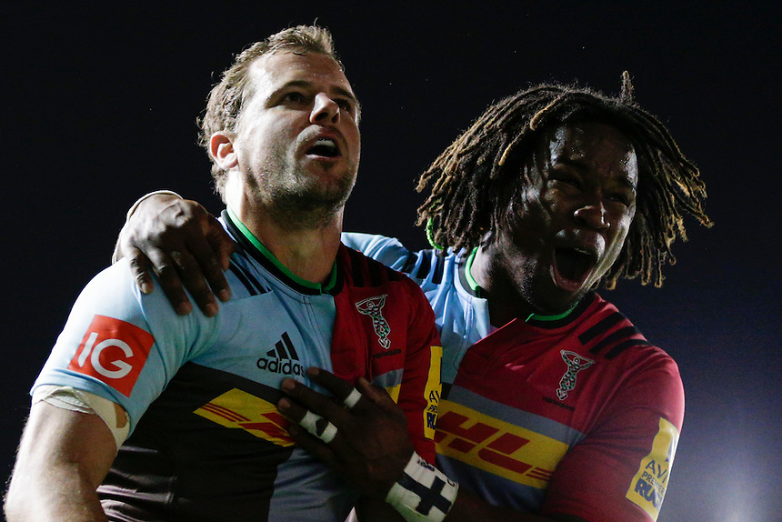 Harlequins' Nick Evans celebrates scoring his sides first try with Marland Yarde <br /> <br /> Photographer Craig Mercer/CameraSport<br /> <br /> Rugby Union - Aviva Premiership - Harlequins v Wasps - Friday 16th October 2015 - The Stoop - London<br /> <br /> &copy; CameraSport - 43 Linden Ave. Countesthorpe. Leicester. England. LE8 5PG - Tel: +44 (0) 116 277 4147 - admin@camerasport.com - www.camerasport.com