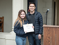 "Amy Patiño. Upward Bound hosts their annual ""End of the Year"" celebration with participants and their families on May 12, 2018 in the courtyard of Booth Hall. Jimmy Gomez, U.S. Representative for California's 34th congressional district, was the featured speaker at the event.<br /> Upward Bound was established at Occidental College in 1966 and has since served over 2000 first generation, low income students in the Los Angeles region.<br /> (Photo by Marc Campos, Occidental College Photographer)"