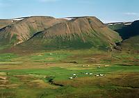 Enni, Sandfell og Ljótsstaðir, séð til norðurs, Hofshreppur.Enni, Sandfell and Ljotsstadir, viewing north, Hofshreppur
