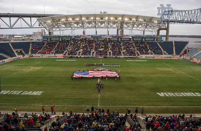 Dec 15, 2013;  An american flag is unfurled during the national anthem prior to the College Cup championship game against Notre Dame and Maryland in Chester, Pa. Photo by Barbara Johnston/University of Notre Dame