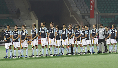 1.03.2010.Delhi,India.FIH World Cup Field Hockey.Netherlands verses Argentina. Argentinas players stand for national anthem during the their match against Netherlands at the men's Hockey World Cup in New Delhi.Photo: Pankaj Nangia/Actionplus - Editorial Use