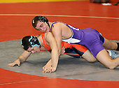 Gilbert Vazquez and Matt Mcguckin wrestle at the 135 weight class during the NY State Wrestling Championships at Blue Cross Arena on March 8, 2008 in Rochester, New York.  (Copyright Mike Janes Photography)